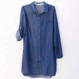 Kenneth Cole Tencel Chambray Button Shirt Dress 10
